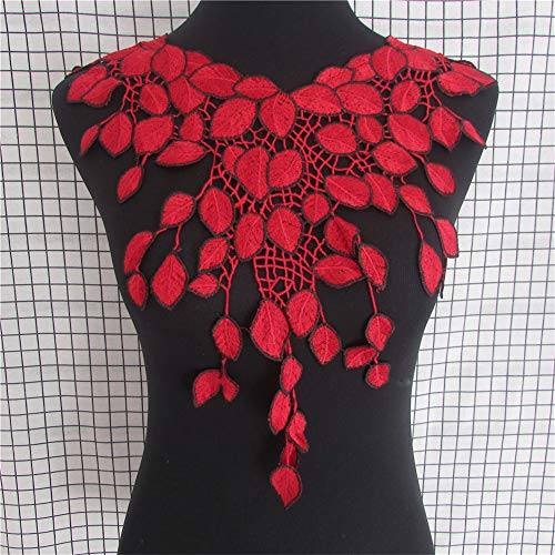 Red Appliques Heart Polyester (Red Lace Collar Off Beautiful Flower and Heart Venise Lace Applique Trim, Lace Fabric Sewing Supplies)