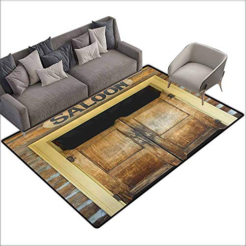 Office Chair Floor Mat Foot Pad Saloon Decor Collection,Authentic Saloon Doors of Old Western Building in Montana Ghost Town Image Print,Sienna Cream Brown 36