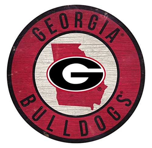 Fan Creations Georgia Bulldogs Wood Sign 12 Inch Round State Design ()