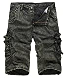 Coolred-Men Washed Fine Cotton Basic Style Textured Cargo Shorts Green 28