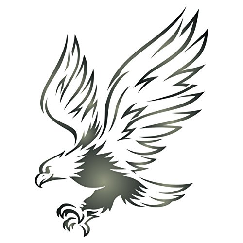 (Eagle Stencil - 4.5 x 6 inch (S) - Reusable Bird Animal Wildlife Wall Stencil Template - Use on Paper Projects Scrapbook Journal Walls Floors Fabric Furniture Glass Wood etc.)