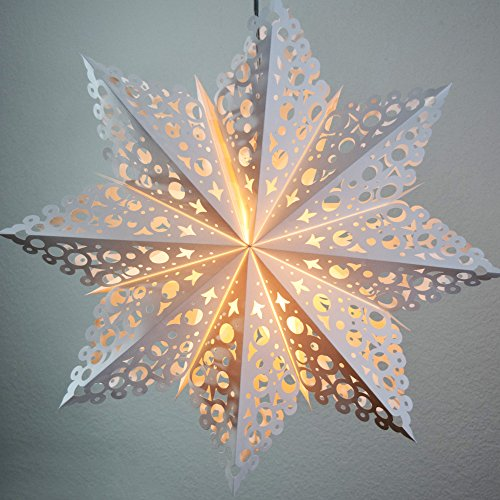 Quasimoon PaperLanternStore.com 24 Inch White Winter Solstice Snowflake Paper Star Lantern, Hanging Decoration (Best Led Tv Available In India)