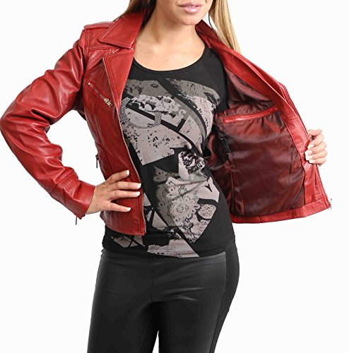 Estilo Real Ajustada Mujer Cordero Kim Cuero Casual Rojo del Biker de Chaqueta gqgtIT
