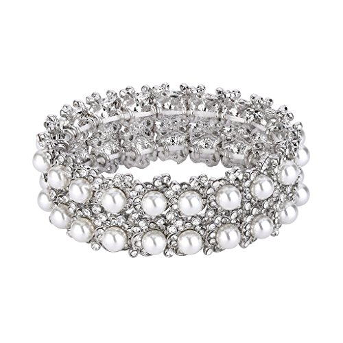 EVER FAITH Women's Crystal White Simulated Pearl 2 Layers Flower Elastic Stretch Bracelet Clear Silver-Tone ()