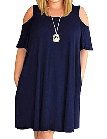 e08d347c1bc HBEYYTO Women Plus Size Dresses Cold Shoulder Short Sleeve Casual Loose T- Shirt Swing Dress with Pockets at Amazon Women s Clothing store