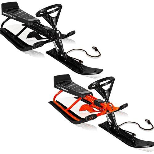 Lenkschlitten mit Fußbremse 120 x 50 x 38 cm rot - Rodel Skibob Rennschlitten Sportrodel Schlitten Kinderschlitten Rodelschlitten Bob Ski Rodel