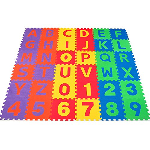 (Non-Toxic 36 Piece ABC Foam Mat - Alphabet & Number Puzzle Play & Flooring Mat for Children & Toddlers)
