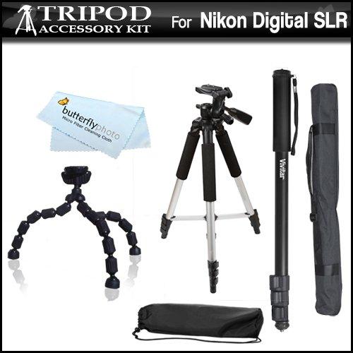 - Tripod & Monopod Kit For NIKON D3200, D5100 D800 D800E D200 D100 D700 D70S D80 D70 D50 D5000 D3000 D300S D90 D40 D40X D60 D3 D2H D3X D7000 D3100 Includes 57 Inch Tripod, 67 Inch Monopod & Flexible Gripster Tripod