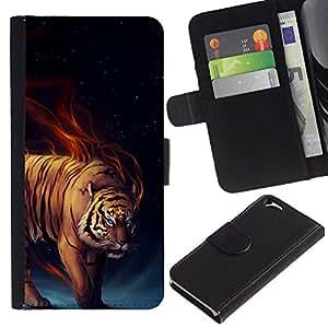 KLONGSHOP // Tirón de la caja Cartera de cuero con ranuras para tarjetas - Tiger Llamas feroces Gato Salvaje Arte Blue Eyes - Apple Iphone 6 //