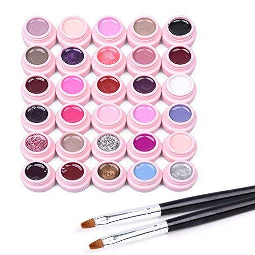 Frenshion Set of 30 colors Soak-off UV LED Semi Permanent Nail Gel Nail Polish Base Top Nail Art Manicure Kit +2 Brush