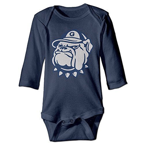 Georgetown University Jack The Bulldog Long-Sleeve Baby Hanging Bodysuit Baby Shower Gift Navy 100% Cotton