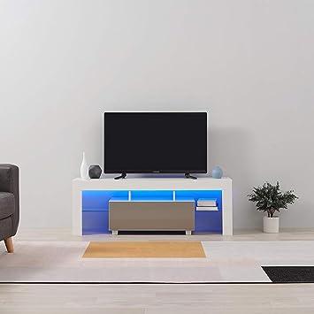 prix compétitif 7b31a 25304 panana Anaelle Meuble TV avec LED en Verre sur Salle de Séjour, Salon et  Chambre à Coucher etc, Taile: 130 x 35 x 45 cm, Poids: 22kg, Blanc+Gris