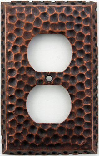 Hammered Single - Classic Accents Hammered Antique Copper Wall Plate - Single Duplex Outlet