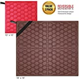 """Original Dish Drying Mats with Reversible Dual Sided Design – Value Pack of 2 Super Absorbent Dish Drying Pad for Kitchen Counter, XL 18"""" x 16"""" & Small 10"""" x 10"""" – Red & Dark Brown By Metric USA"""