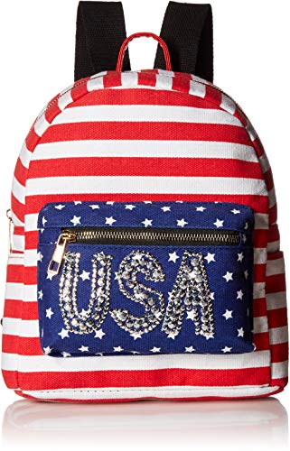 - Twig & Arrow Women's USA Stones Mini Dome Backpack, Stripes/Stars