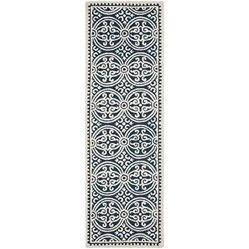 Safavieh Cambridge Collection CAM123G Handmade Moroccan Geometric Navy Blue and Ivory Premium Wool Runner (2'6 x 14′)