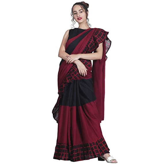 4dd0978ed18811 SareeShop Women s Georgette Ruffle Pattern Saree with Blouse (Maroon and  Black)  Amazon.in  Clothing   Accessories