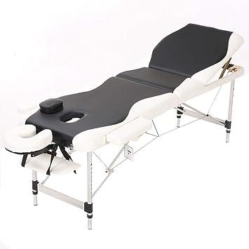 db96264639e4 Massage Table, Qivange Aluminium Salon Portable Massage Bed Folding 3  Section Beauty Tattoo Spa Massage