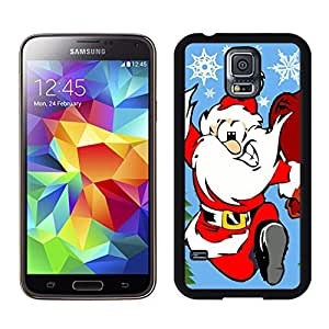 S5 Case,Happy Running Christmas Santa Claus TPU Black Case For Galaxy S5,Samsung Galaxy S5 I9600 Protective