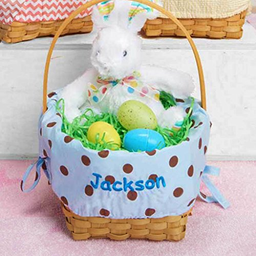 Personalized Woodchip Easter Basket with Custom Designed Liners (Large, Blue with Chocolate Polka - Basket Pattern Easter