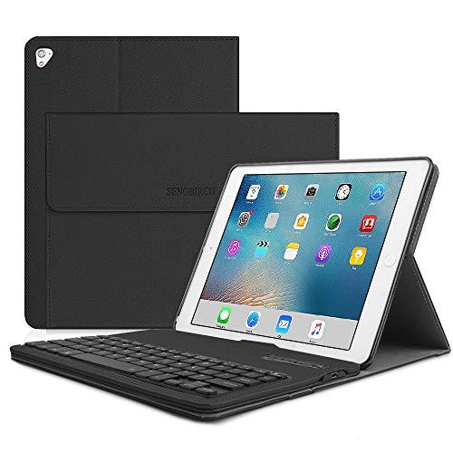 SENGBIRCH Compatible Keyboard Case iPad 9.7 2017 - iPad 9.7 2018 - iPad Air 2 - iPad Air 1 - iPad Pro 9.7, PU Leather, Detachable Keyboard, Wireless Connect, iPad Case with Keyboard, Black (Black Leather Case For Ipad Air 1)