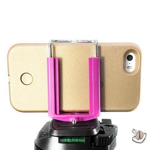 (DaVoice Cell Phone Tripod Adapter Mount Holder Clamp Compatible with iPhone X XS Max XR Se 8 7 6 6s Plus Samsung Galaxy S9 S8 S7 Adjustable Smartphone Bracket Clip Cellphone Attachment (Hot Pink) )