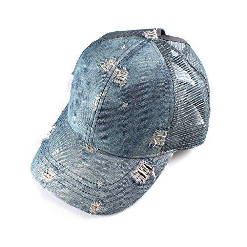 c8a18d1d09a Hatsandscarf C.C Messy Buns Damaged Denim Fabric Trucker Hat with Ponytail  Baseball Cap (BT-