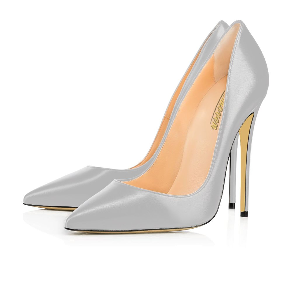 Modemoven Women's Pointy Toe High Heels Slip On Stilettos Large Size Wedding Party Evening Pumps Shoes B073Y5NY9P 7.5 B(M) US|Gray