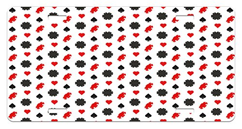 Lunarable Casino License Plate, Casino Poker Theme Pattern with Card Suits and Chips Fortune Wealth Luck Win, High Gloss Aluminum Novelty Plate, 5.88 L X 11.88 W Inches, Red Black White ()