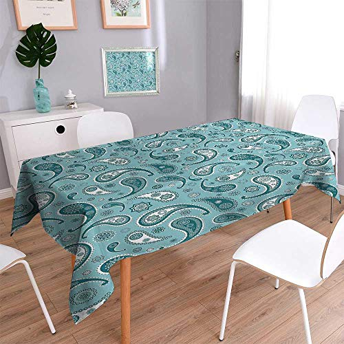 Vanfan Square Polyester Tablecloth Islamic Arabian Inspiredwith Rounded Modern Ornaments Bathroom Easy Care Spillproof 70''x120'' by Vanfan