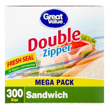 Food Storage Container Reviews (Great Value Double Pinch & Seal Zipper Food Storage Bags, Sandwich, 300 Ct)