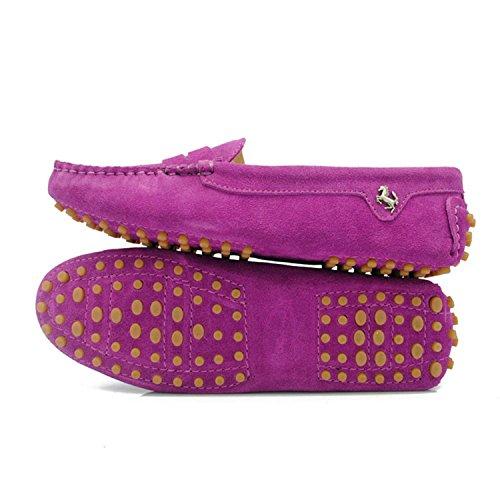 Minishion Flickor Kvinna Tillfälliga Bekväm Mocka Läder Driv Mockasiner Loafers Båt Skor Lägenheter Lila