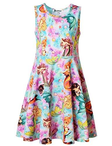 Kids Mermaid Dress (Jxstar Little Girls Fairy Dress Mermaid Fantasy Pattern Sleeveless Summer Dress birthday dresses for girls Mermaid Fantasy 120)