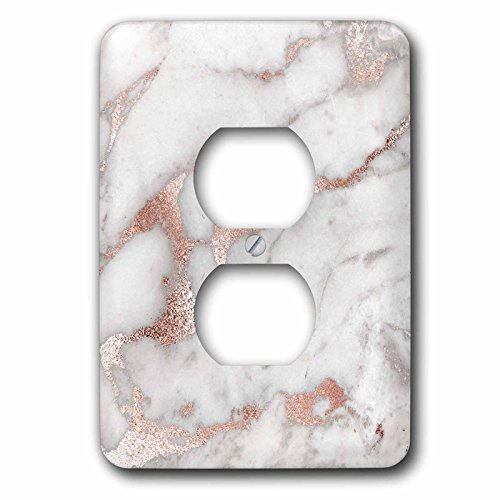 3dRose Uta Naumann Faux Glitter Pattern - Image of Chic Gray Trendy Copper Rose gold Marble Agate Gemstone Rock Quartz - Light Switch Covers - 2 plug outlet cover - Rose Switch Light Covers