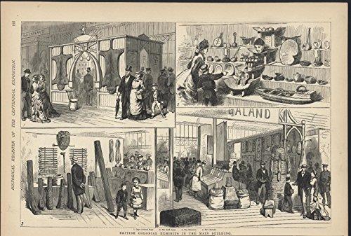British Colonial Exhibits Main Building Centennial 1876 antique wood - 1876 Antique Engraving