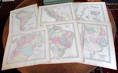 Argentine Island Light - South America 1855 maps Colton Lot x 6 lovely large Chile Brazil Argentina