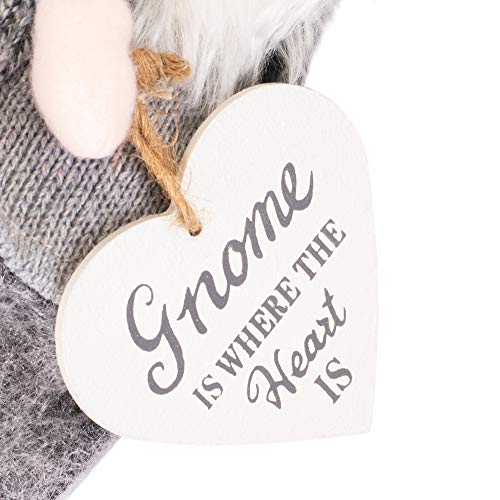 - K. Adler Gnome is Where The Heart is Grey 15 Inch Small Fabric Santa Christmas Ornament