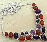 Genuine Gemstone 925 Silver Overlay Handmade Fashion Necklace Jewelry