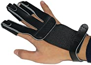 Toparchery Finger Guard Cow Leather Tab Protector Shooting Glove Archery Black for Right Hand