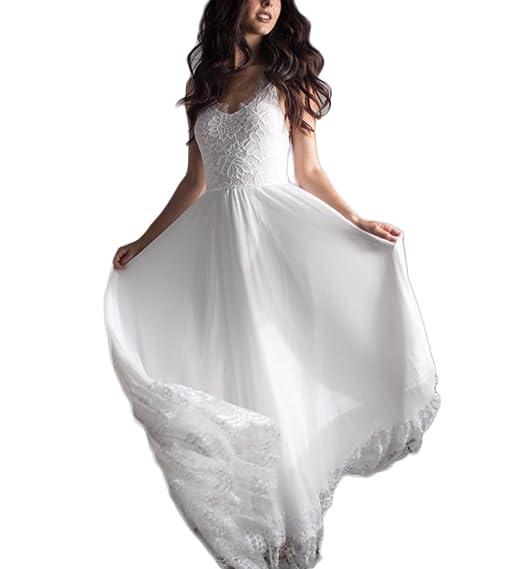 DreHouse Women\'s Lace Vintage Bohemian Backless White/Ivory ...