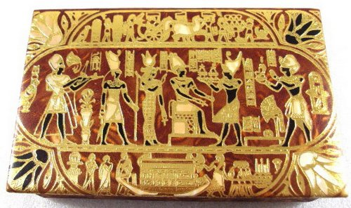 Jewelry Box LG Trinket Egyptian hand made Genuine Leather Horus Offering Pharaoh -
