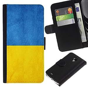 Billetera de Cuero Caso del tirón Titular de la tarjeta Carcasa Funda del zurriago para Samsung Galaxy S4 Mini i9190 MINI VERSION! / Business Style Ukraine Flag