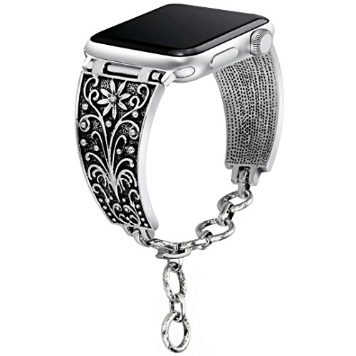 Aokon Bling Bands for Apple Watch Band 38mm, Vintage Chain Jewelry Bracelet with Rhinestone Bling Replacement Wristband Sport Strap for Apple Watch Nike+, Series 3, Series 2, Series 1(Silver (Silver Chain Bracelet Watch)