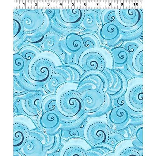 Clothworks Fabric Quilt - Sea Goddess by Laurel Burch from Clothworks 100% Cotton Quilt Ocean Fabric Y2602-33 Aqua Swirl