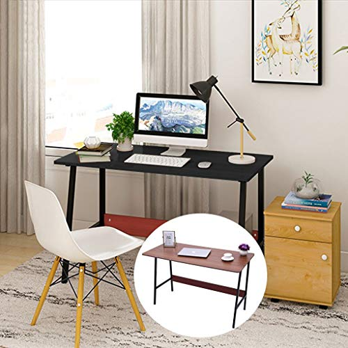 Salaks Computer Desk, 【US Stock】 Simple Office Desk with Thick Table Top Sturdy Metal Frame, Simple Study Table, Industrial Style Desk for Home Office (Black)