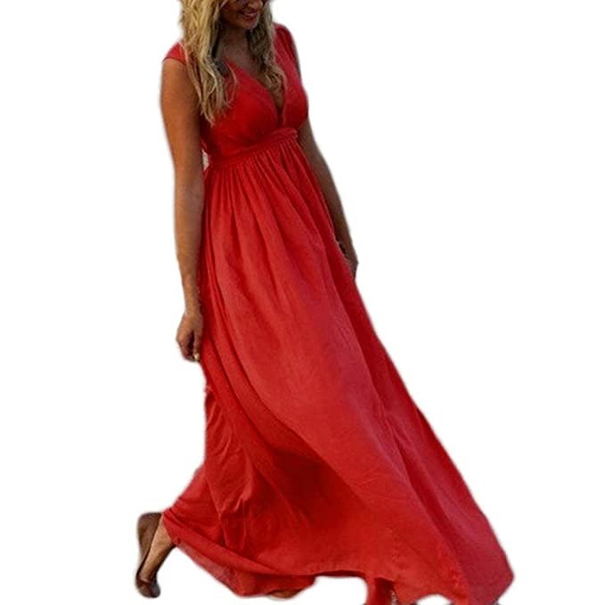 Vestidos Elegantes Mujer Moda 2018,STRIR Vestido Maxi Largo Hippie Boho Mujer Verano para Cóctel
