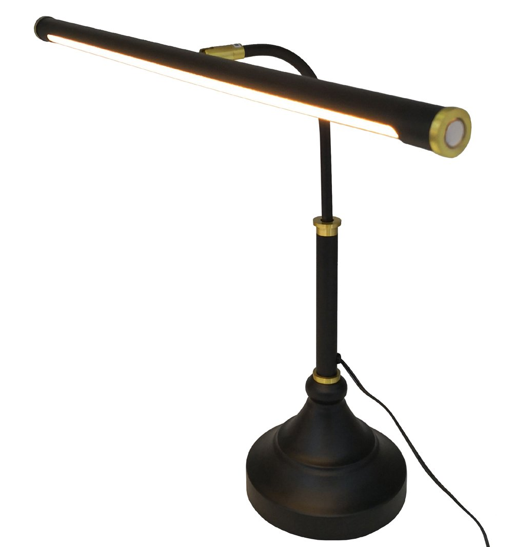HomeFocus LED Piano Desk Table Lamp,Reading Desk Table Lamp,Study Lamp,Touch Dimmable,Adjustable Height, Multi-Functional,Metal,Black +Bronze,LED 5W,3000K,Play Piano,Reading or Office Working,Eye Ca by HomeFocus