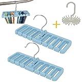 OVOV 2 Pack Tie Rack Belt Hanger Multifunction Holder Hook for Closet Organizer Storage with free Twirl Tie Rack (Blue)