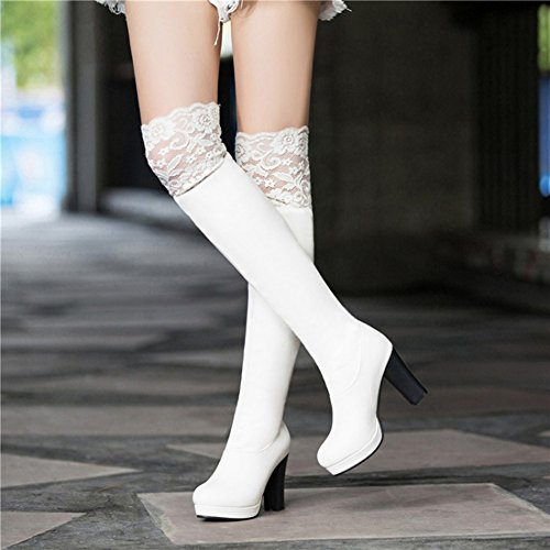 Suede Toe Women's Round Lace Boots Fashion Above High Block White The Heel Faux Knee Aisun wC1xqHgg