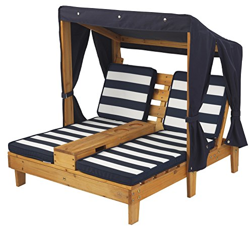 KidKraft Outdoor Double Chaise Lounge, Honey/Navy/White, One Size (Chaise Double Furniture Outdoor)